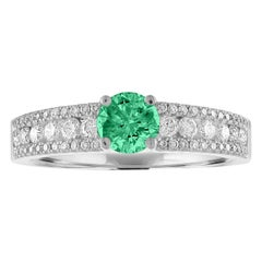 AGL Certified 0.44 Carat Emerald Diamond Gold Ring