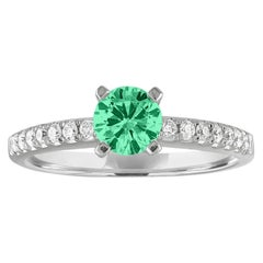 AGL Certified 0.46 Carat Emerald Diamond Gold Ring