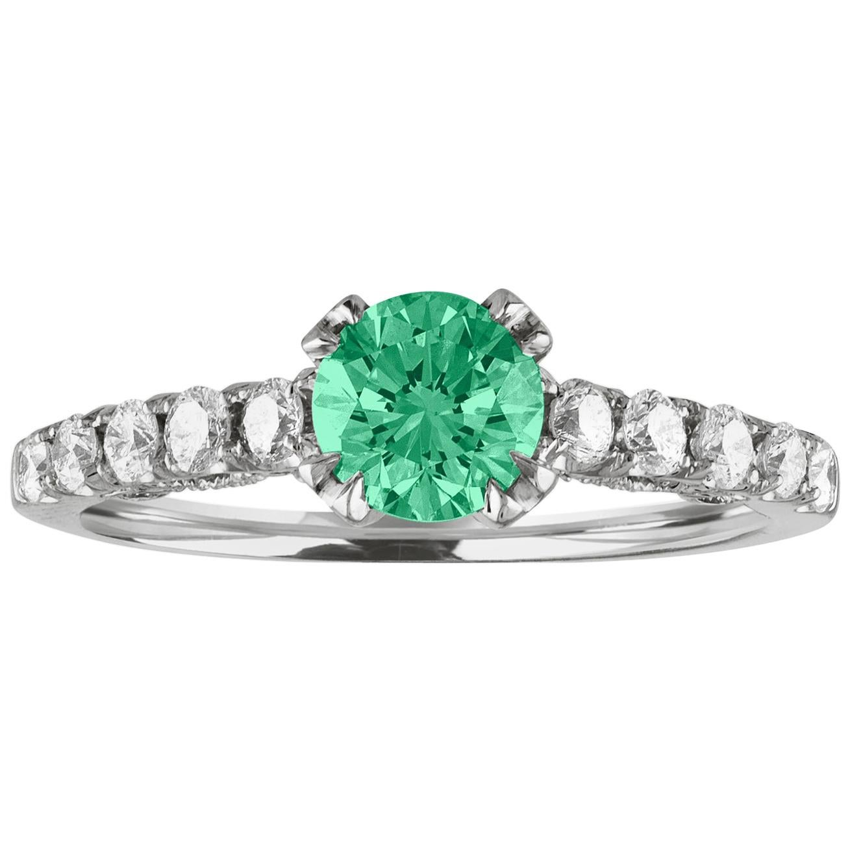 AGL Certified 0.52 Carat Emerald Diamond Gold Milgrain Ring