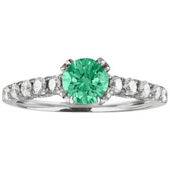AGL Certified 0.52 Carat Emerald Diamond Gold Milgrain Ring