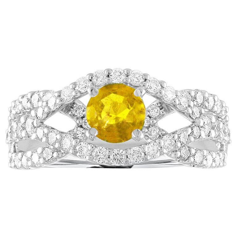 AGL Certified 0.59 Carat Round Yellow Sapphire and Diamond Gold Ring For Sale