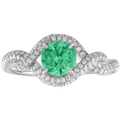 AGL Certified 0.67 Carat Emerald Diamond Gold Ring