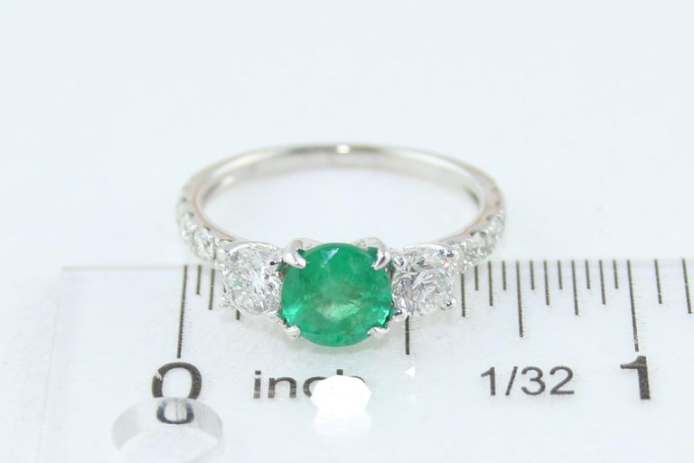 AGL Certified 0.77 Carat Emerald Three-Stone Diamond Gold Ring For Sale 4