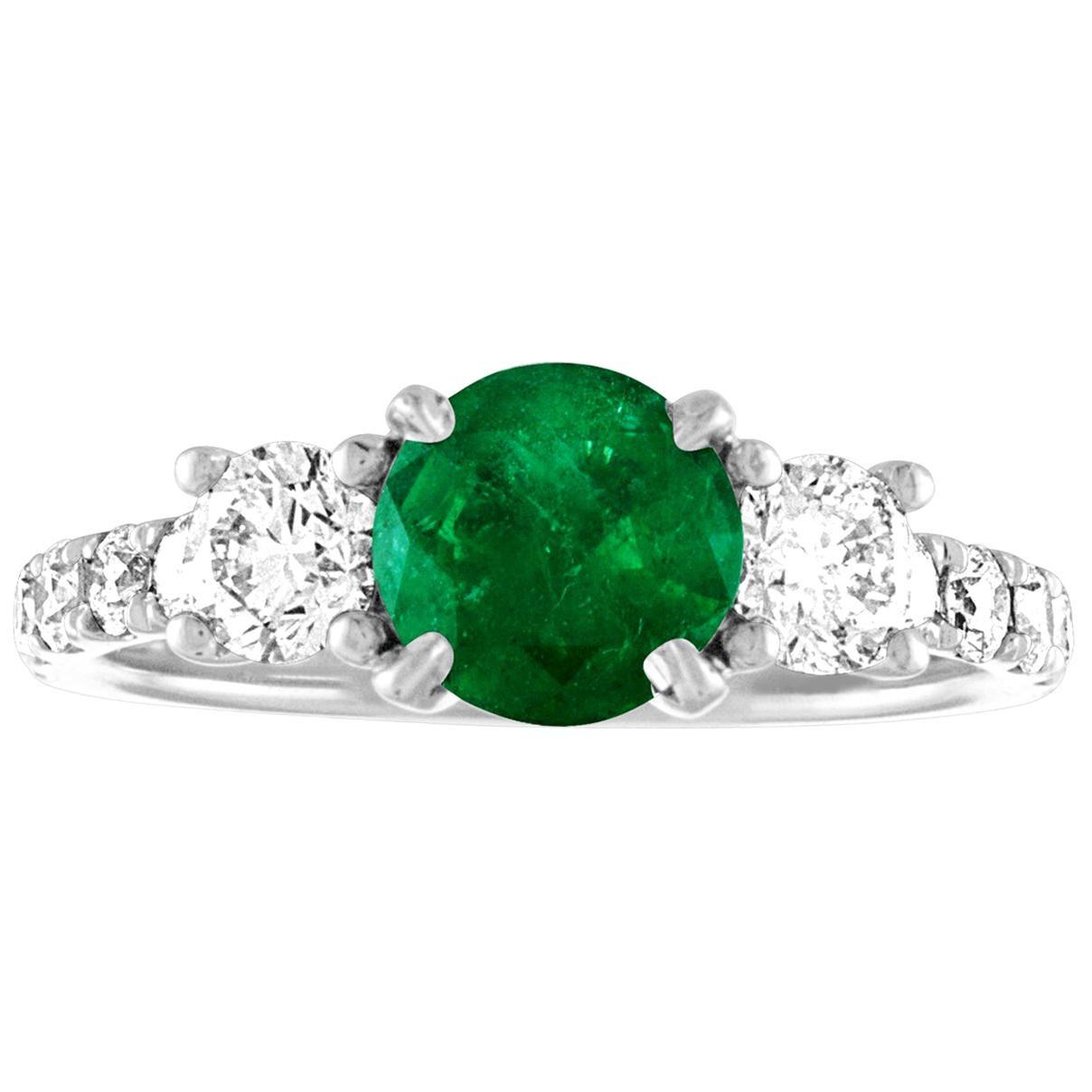 AGL Certified 0.77 Carat Emerald Three-Stone Diamond Gold Ring