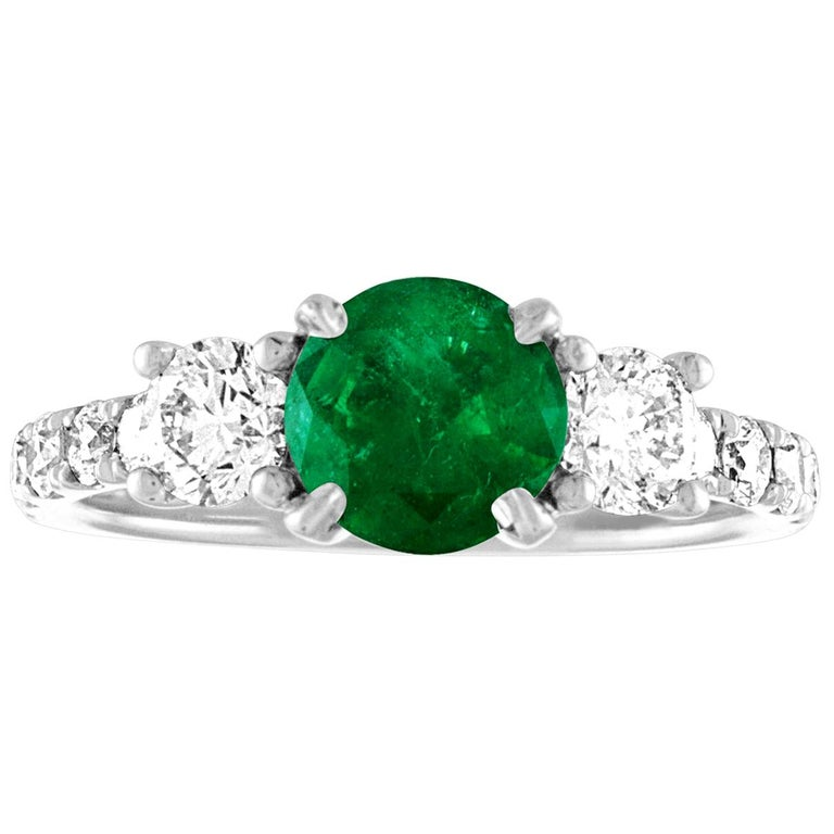 AGL Certified 0.77 Carat Emerald Three-Stone Diamond Gold Ring For Sale