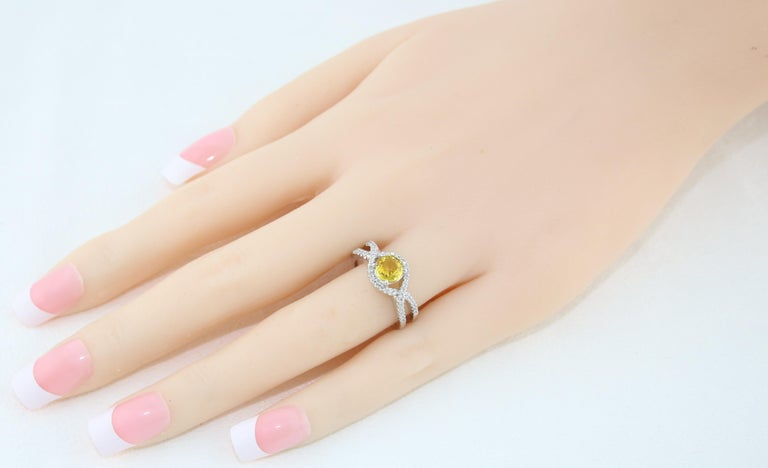 Round Cut AGL Certified 0.77 Carat Round Yellow Sapphire and Diamond Gold Ring For Sale