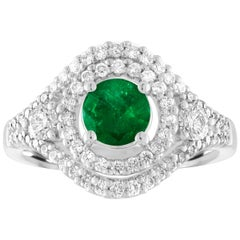 AGL Certified 0.78 Carat Round Emerald Diamond Gold Ring