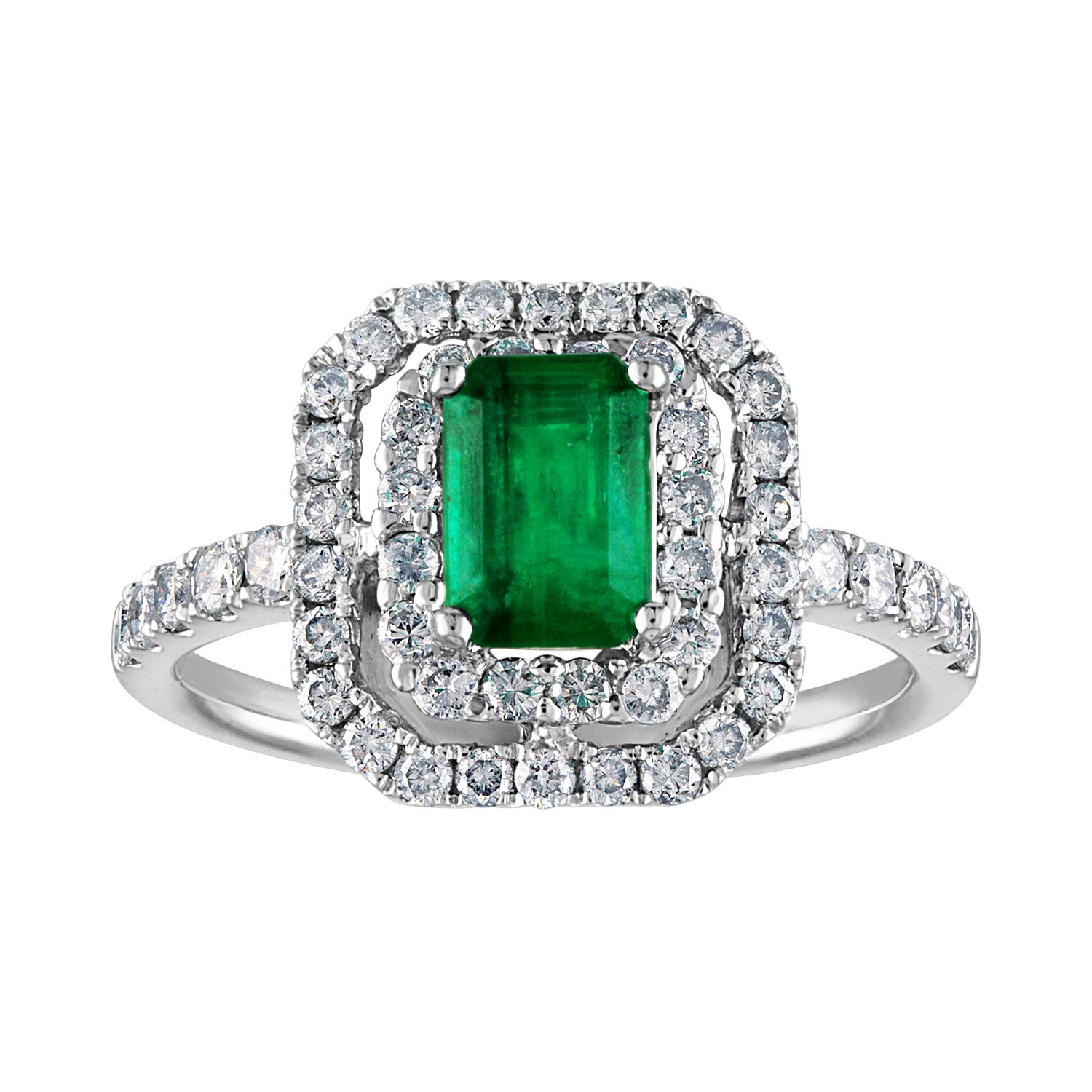 AGL Certified 0.80 Carat Emerald Diamond Gold Ring