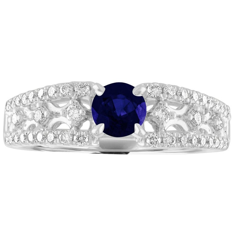 AGL Certified 0.80 Carat Sapphire Diamond Gold Ring For Sale