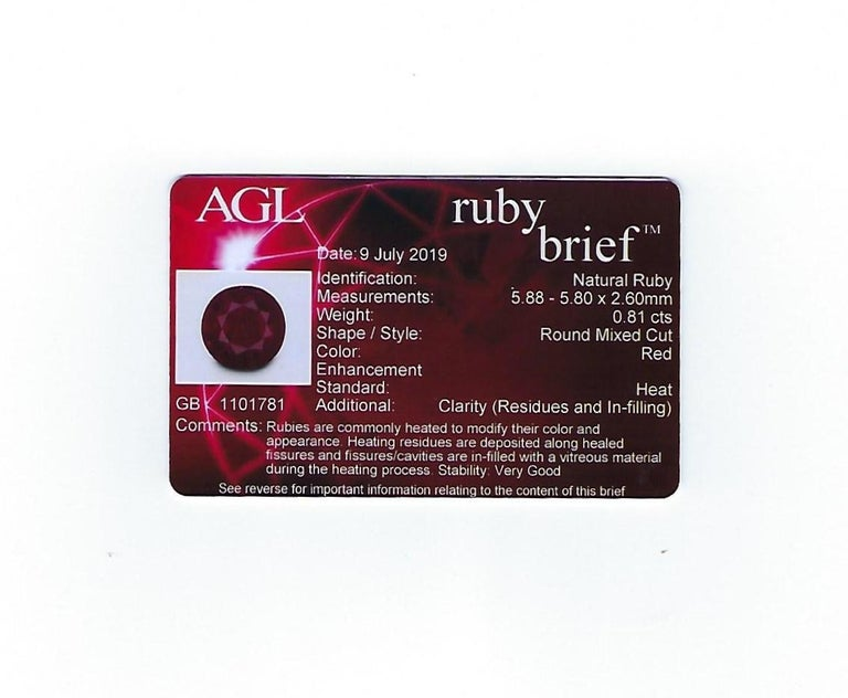AGL Certified 0.81 Carat Round Ruby Diamond Gold Ring For Sale 4