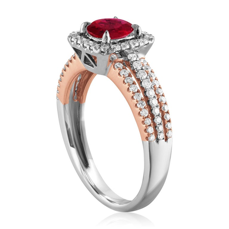 Beautiful Square Halo Two Tone Ring The ring is 18K White & Rose Gold The Center Stone is a Round Ruby 0.81 Carats The Ruby is AGL Certified Heated There are 0.52 Carats in Diamonds F/G VS/SI The ring is a size 6.5, sizable The ring weighs 4.4 grams