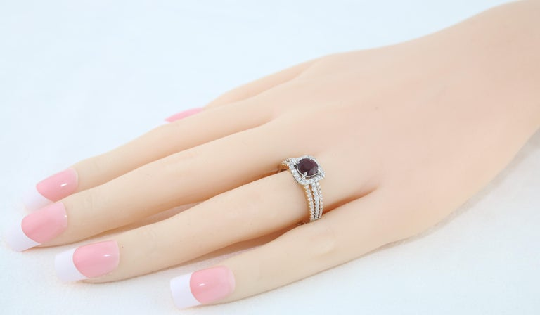 Women's AGL Certified 0.81 Carat Round Ruby Diamond Gold Ring For Sale