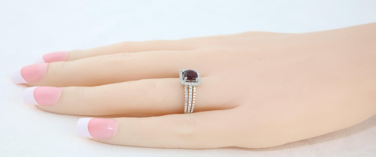 AGL Certified 0.81 Carat Round Ruby Diamond Gold Ring For Sale 1