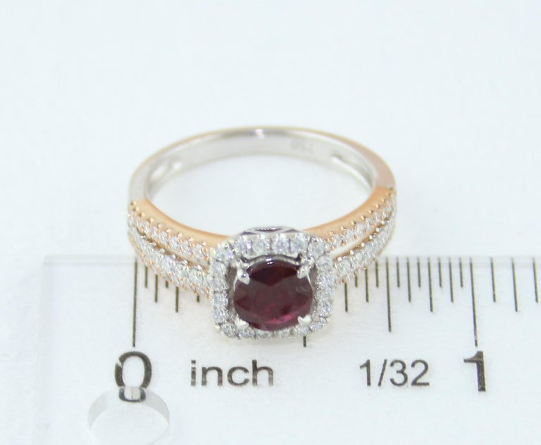 AGL Certified 0.81 Carat Round Ruby Diamond Gold Ring For Sale 3