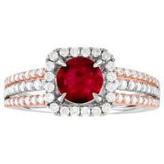 AGL Certified 0.81 Carat Round Ruby Diamond Gold Ring