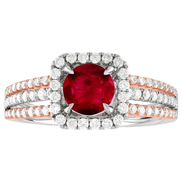 AGL Certified 0.81 Carat Round Ruby Diamond Gold Ring For Sale