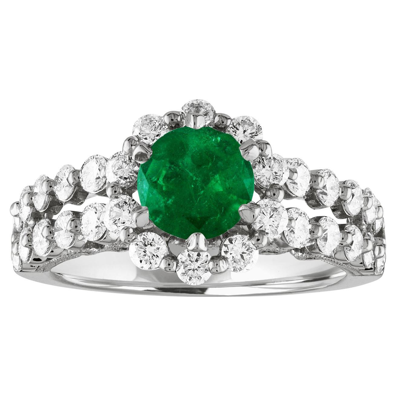 AGL Certified 0.82 Carat Round Emerald Diamond Gold Milgrain Ring