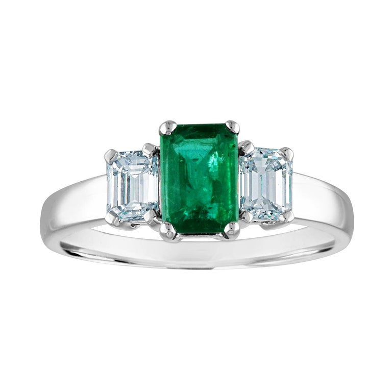 AGL Certified 0.84 Carat Emerald Three-Stone Diamond Gold Ring For Sale