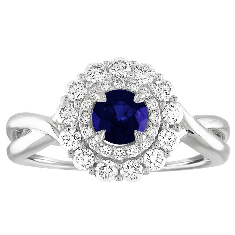 AGL Certified 0.84 Carat Round Sapphire Diamond Gold Ring For Sale