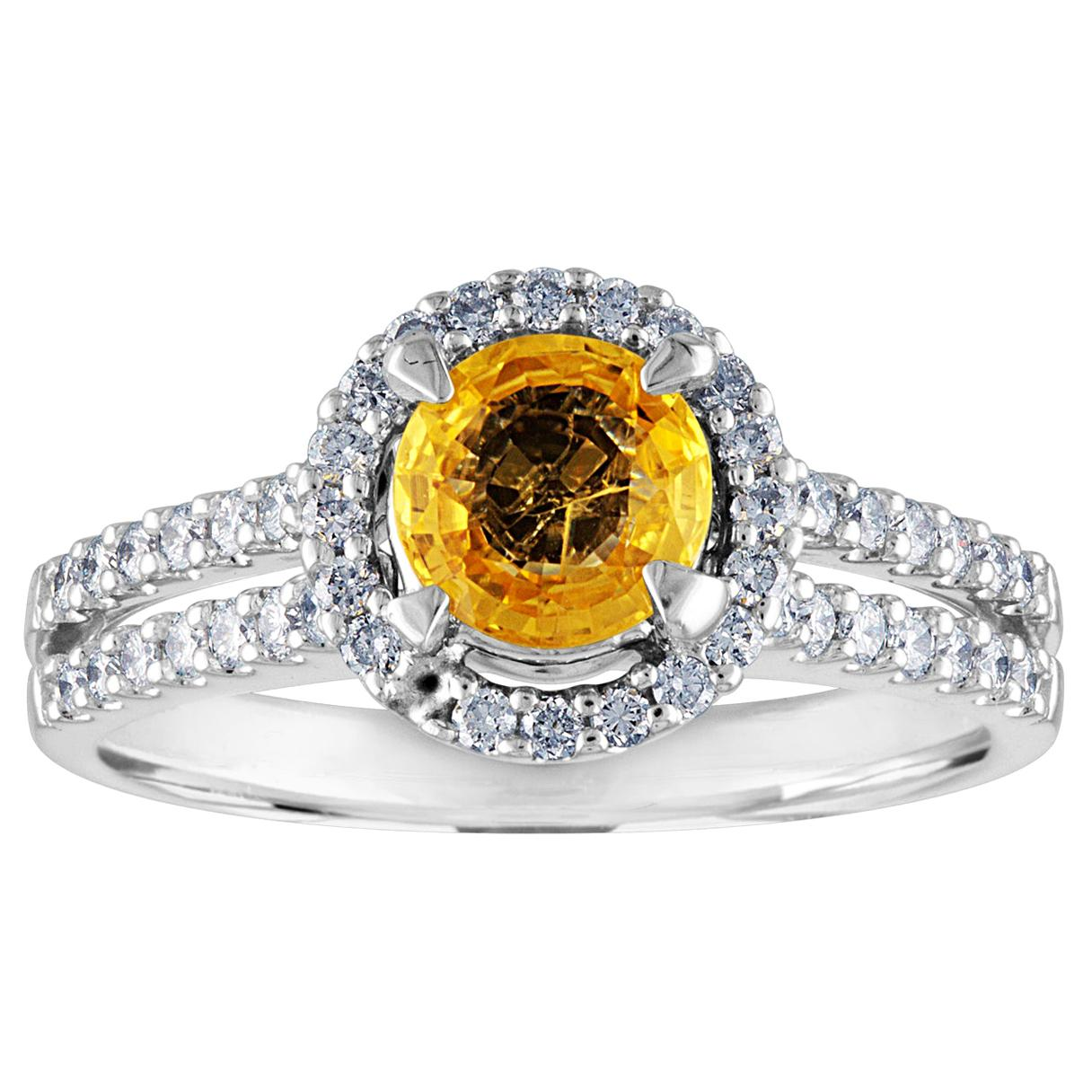 AGL Certified 0.84 Carat Round Yellow Sapphire Diamond Gold Ring