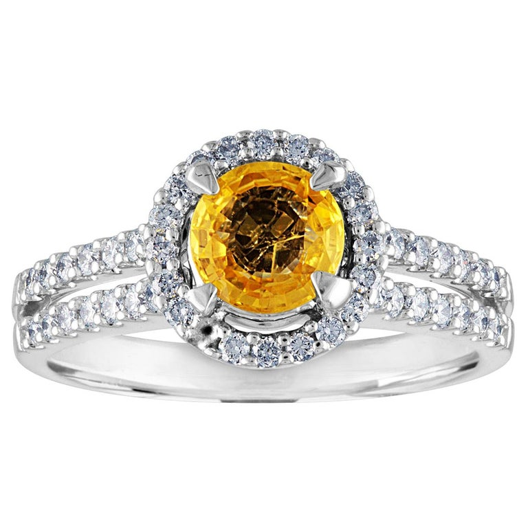 AGL Certified 0.84 Carat Round Yellow Sapphire Diamond Gold Ring For Sale