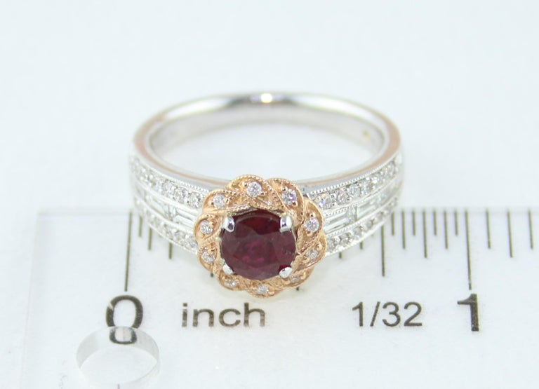 AGL Certified 0.86 Carat Round Ruby Diamond Gold Milgrain Ring For Sale 4