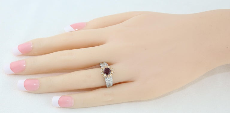 Round Cut AGL Certified 0.86 Carat Round Ruby Diamond Gold Milgrain Ring For Sale