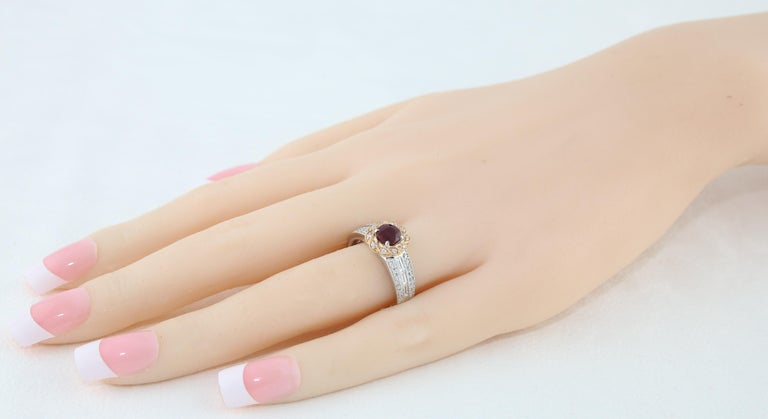 Women's AGL Certified 0.86 Carat Round Ruby Diamond Gold Milgrain Ring For Sale
