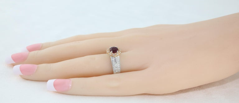 AGL Certified 0.86 Carat Round Ruby Diamond Gold Milgrain Ring For Sale 1