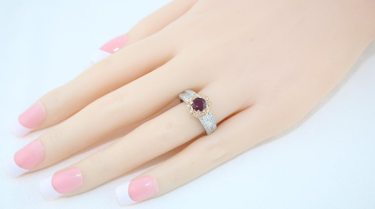 AGL Certified 0.86 Carat Round Ruby Diamond Gold Milgrain Ring For Sale 2