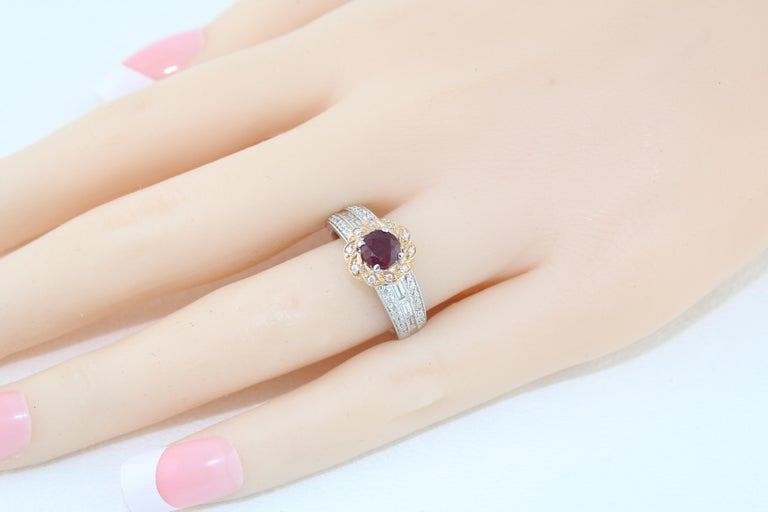 AGL Certified 0.86 Carat Round Ruby Diamond Gold Milgrain Ring For Sale 3