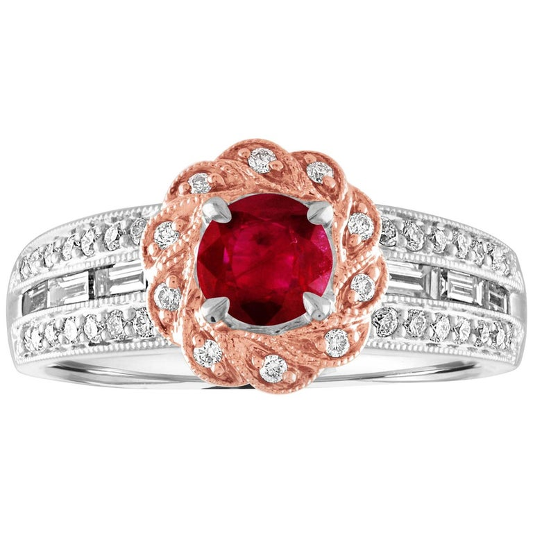 AGL Certified 0.86 Carat Round Ruby Diamond Gold Milgrain Ring For Sale
