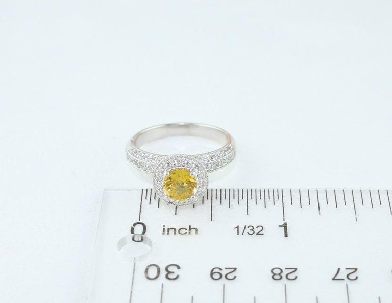 AGL Certified 0.86 Carat Round Yellow Sapphire Diamond Gold Milgrain Ring For Sale 2
