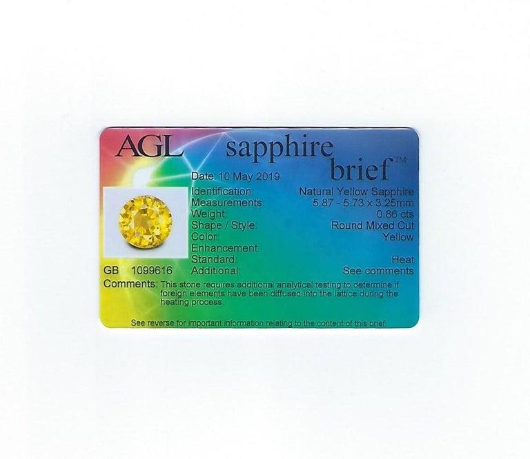 AGL Certified 0.86 Carat Round Yellow Sapphire Diamond Gold Milgrain Ring For Sale 3