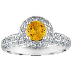 AGL Certified 0.86 Carat Round Yellow Sapphire Diamond Gold Milgrain Ring