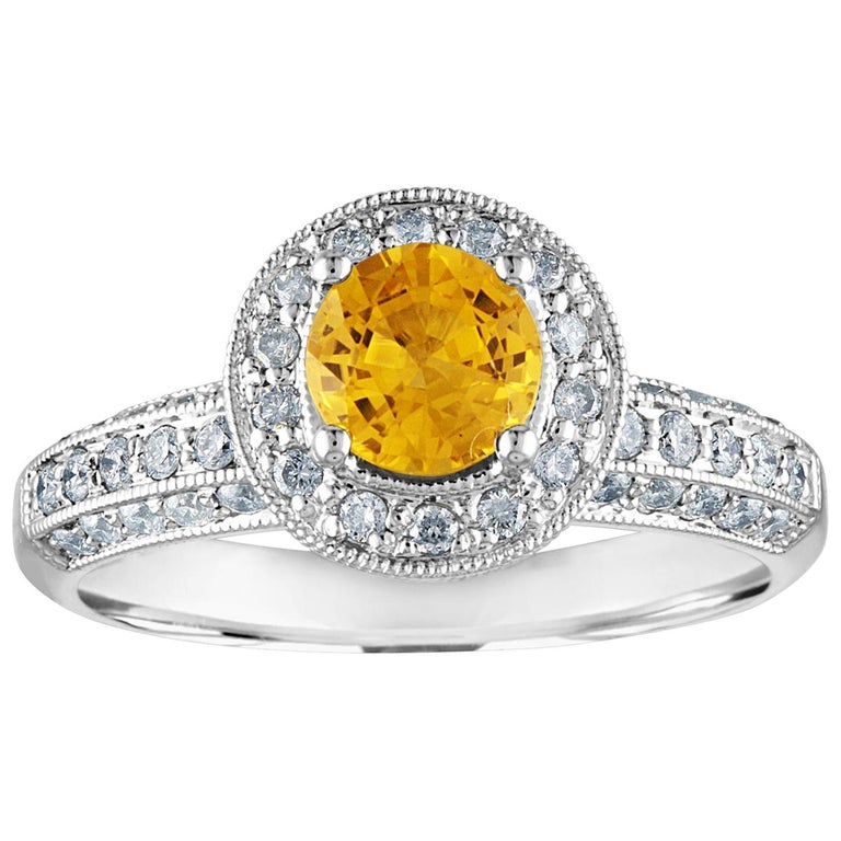 AGL Certified 0.86 Carat Round Yellow Sapphire Diamond Gold Milgrain Ring For Sale