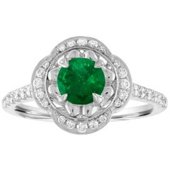AGL Certified 0.87 Carat Round Emerald Diamond Gold Ring