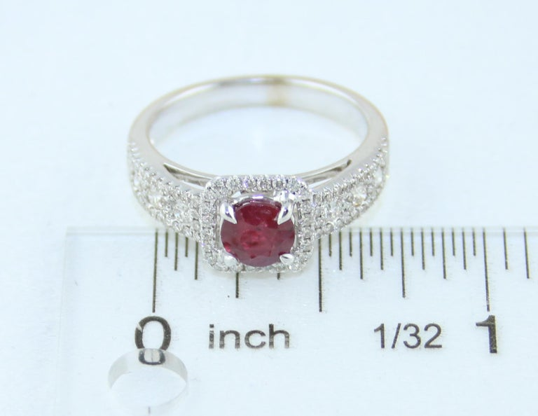 AGL Certified 0.87 Carat Round Ruby Diamond Gold Ring For Sale 4