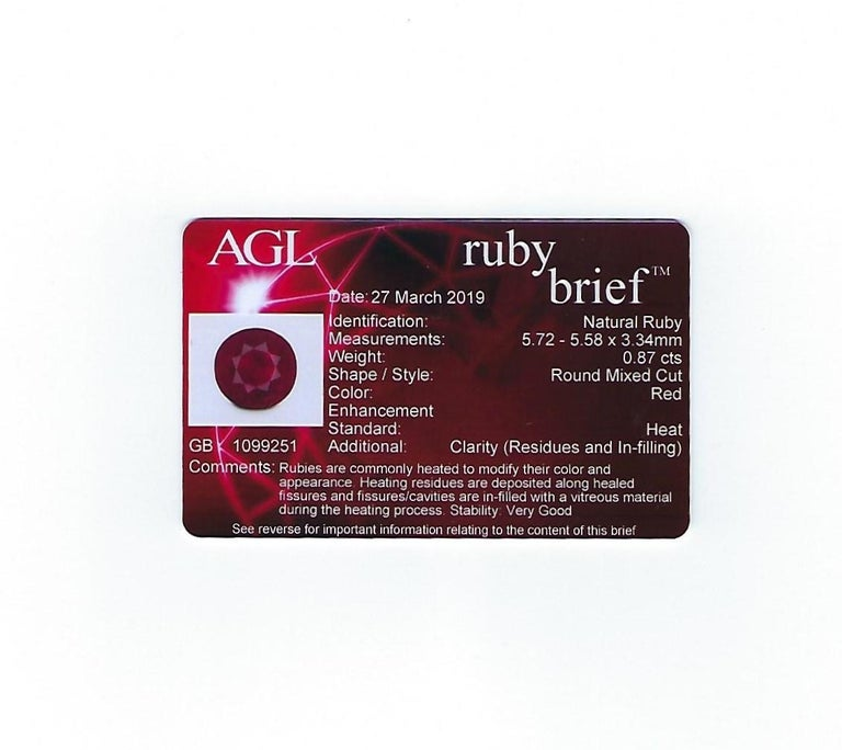 AGL Certified 0.87 Carat Round Ruby Diamond Gold Ring For Sale 5
