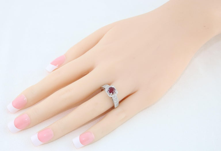 Contemporary AGL Certified 0.87 Carat Round Ruby Diamond Gold Ring For Sale