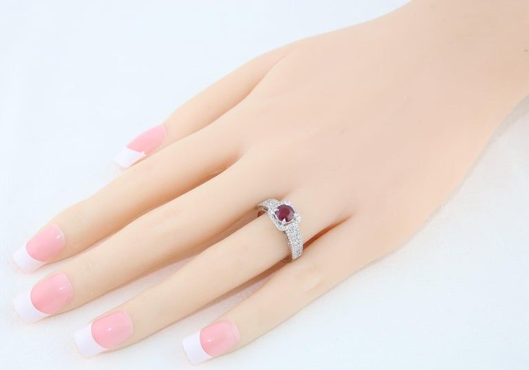 Round Cut AGL Certified 0.87 Carat Round Ruby Diamond Gold Ring For Sale