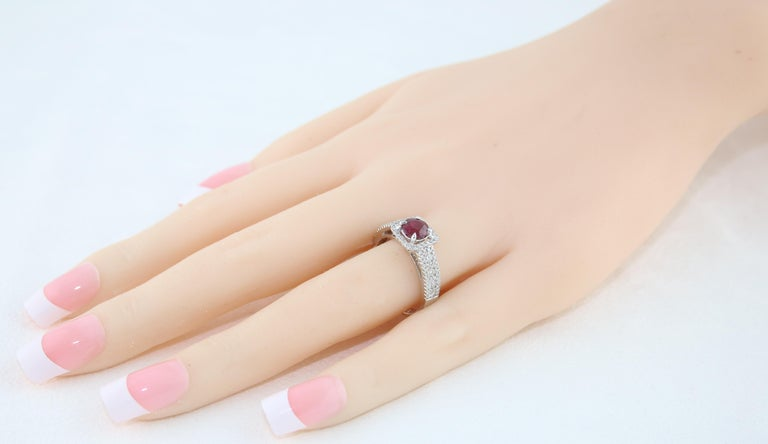 Women's AGL Certified 0.87 Carat Round Ruby Diamond Gold Ring For Sale