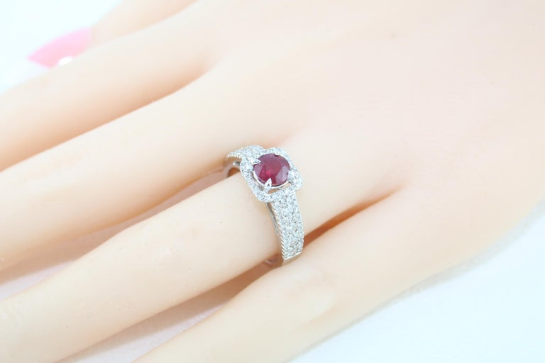 AGL Certified 0.87 Carat Round Ruby Diamond Gold Ring For Sale 3