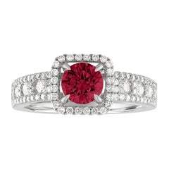 AGL Certified 0.87 Carat Round Ruby Diamond Gold Ring