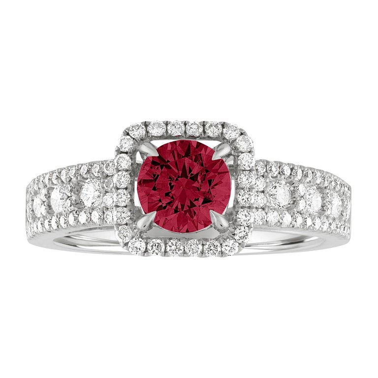 AGL Certified 0.87 Carat Round Ruby Diamond Gold Ring For Sale