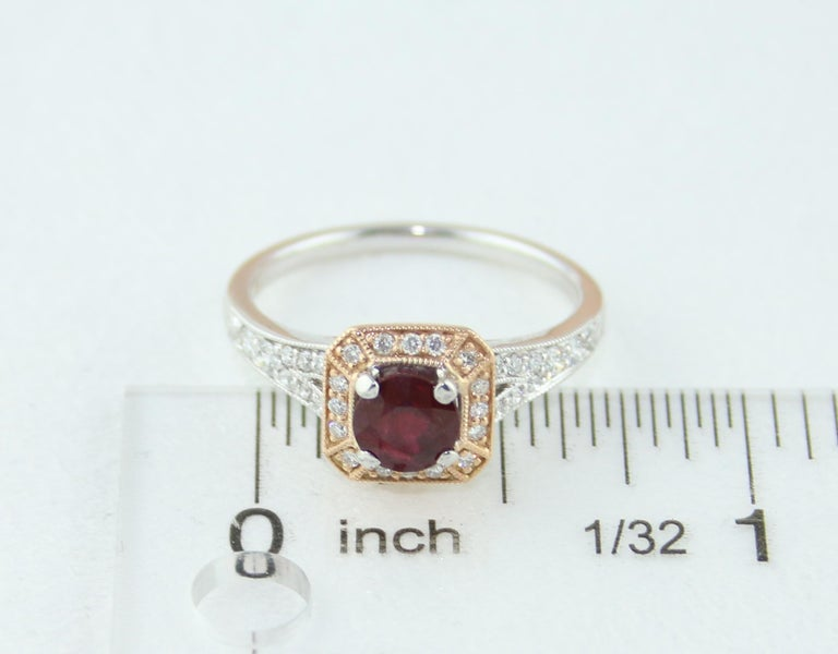 AGL Certified 0.88 Carat Round Ruby Diamond Gold Milgrain Ring For Sale 3