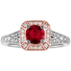 AGL Certified 0.88 Carat Round Ruby Diamond Gold Milgrain Ring