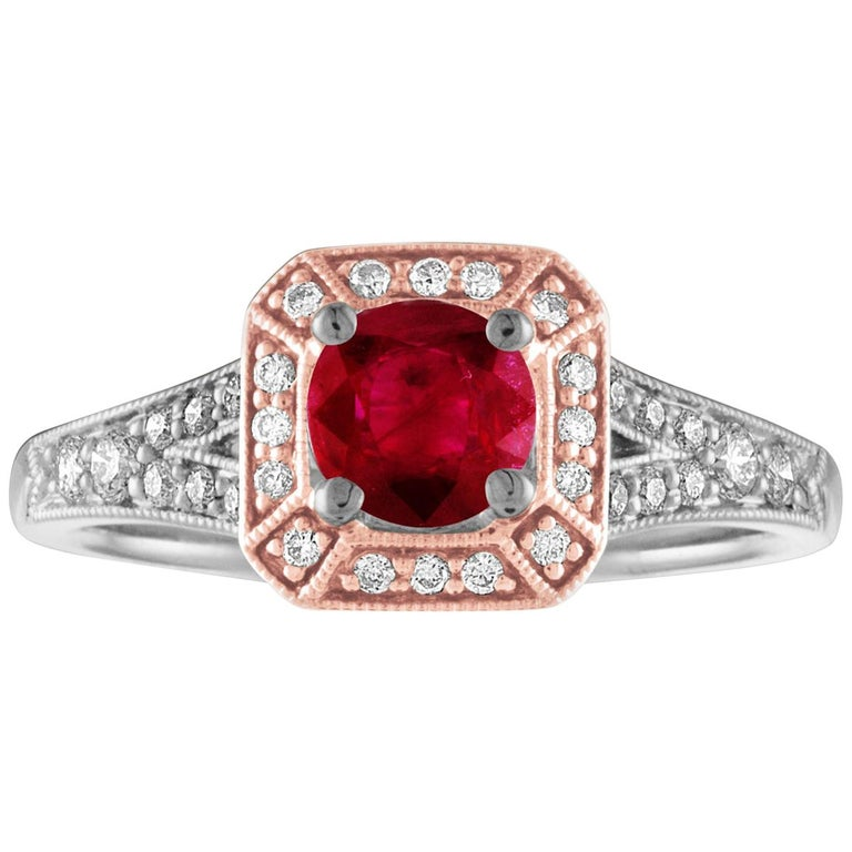 AGL Certified 0.88 Carat Round Ruby Diamond Gold Milgrain Ring For Sale