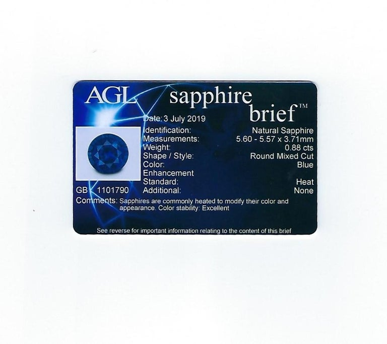 AGL Certified 0.88 Carat Round Sapphire Diamond Gold Ring For Sale 3