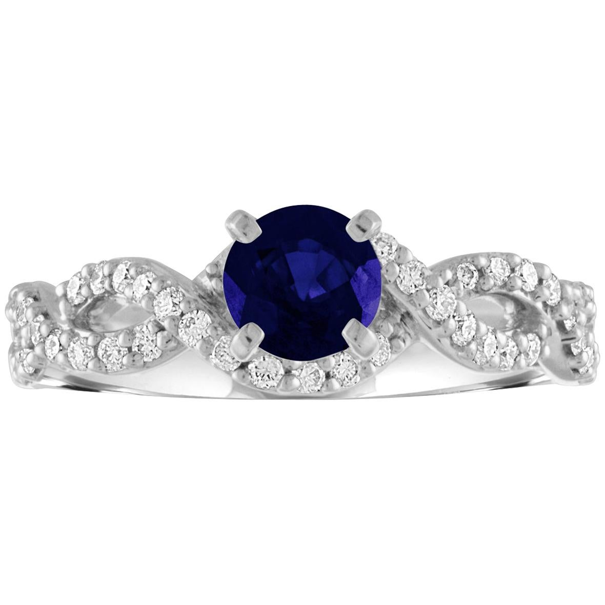 AGL Certified 0.88 Carat Round Sapphire Diamond Gold Ring